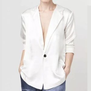 Tina Jo White Cotton Lightweight One Button Blazer